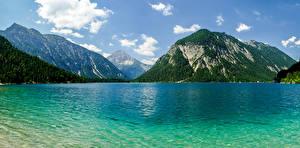Hintergrundbilder Österreich See Berg Laubmoose Plansee