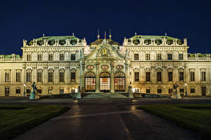 Image Austria Vienna Sculptures Palace Night Stairs Street lights Belvedere