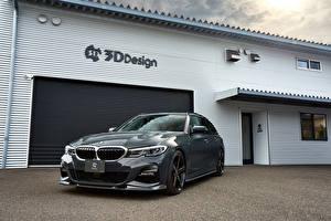 Bureaubladachtergronden BMW Grijs Metallic 2020 3D Design 330i Touring Auto