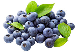 Pictures Blueberries Berry Leaf White background Food