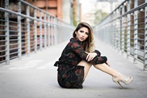 Fotos Unscharfer Hintergrund Braune Haare Sitzend Kleid Hand Bein junge frau