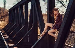 Fotos Unscharfer Hintergrund Braunhaarige Sitzen Kleid Bein