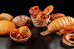 Photo Bread Buns Baking Cutting board Wicker basket Food