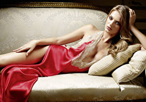 Photo Couch Pillows Dark Blonde Staring Lying down Hands Neckline Bregje Heinen young woman