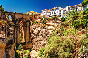Wallpapers Bridges Houses Spain Crag Rhonda, Malaga, Andalusia, El Tahoe Gorge