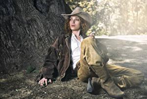 Hintergrundbilder Braune Haare Der Hut Sitzend Cowboy junge frau