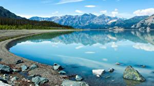 Images Canada Stones Lake Mountains Yukon (Territory) Nature
