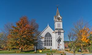 Picture Church USA Autumn Trees Vermont, New England, Montpelier Cities