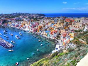Wallpapers Coast Building Italy From above HDRI Gulf of Naples, Procida Cities