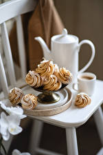 Images Coffee Cappuccino Little cakes Cup Food