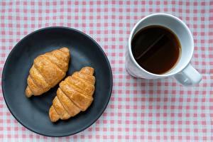 Papel de Parede Desktop Croissant Café Caneca Prato Alimentos