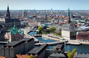 Pictures Denmark Copenhagen Bridges Houses Canal Horizon Cities