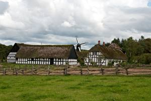 Desktop wallpapers Denmark Building Museums Grass Fence Windmills Ljungby, Frilandsmuseet Cities