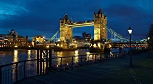 Wallpapers England Bridge Rivers Night London Waterfront Street lights Thames, Tower Bridge