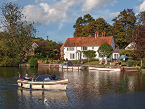 Hintergrundbilder England Haus Flusse Schiffsanleger Binnenschiff Dorf Hambleden, Buckinghamshire