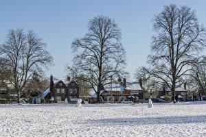 Hintergrundbilder England Haus Winter Dorf Schnee Straße Chiltern hills