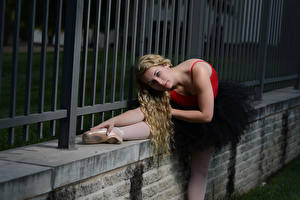 Images Fence Blonde girl Ballet Stretching Posing Glance Hands female