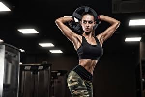 Hintergrundbilder Fitness Posiert Trainieren Hand Starren Mädchens