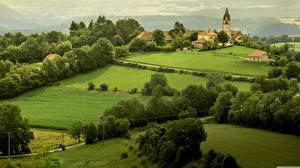 Hintergrundbilder Wälder Felder Frankreich Dorf Normandy
