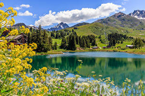 Pictures France Mountain Lake Summer Alps Clouds Savoie Nature