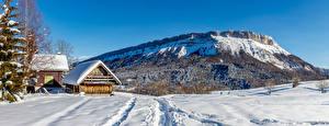 Bureaubladachtergronden Frankrijk Winter Bergen Gebouw Panorama Sneeuw Alpen  Natuur