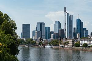 Wallpaper Frankfurt Germany Skyscrapers Rivers Bridge Riverboat Mein, Hesse Cities