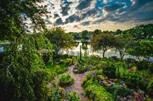 Sfondi desktop Giardino Stagno Arbusti Alberi Lampioni Natura