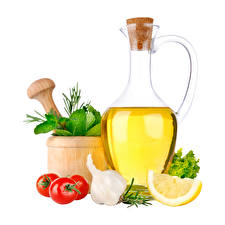 Wallpapers Garlic Tomatoes Lemons Oil Bottle White background