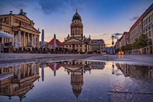 Photo Germany Berlin Houses Evening Street Puddle Street lights Cities