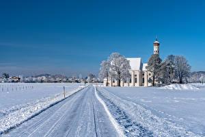 Fotos Deutschland Winter Kirche Wege Bayern Schnee Natur