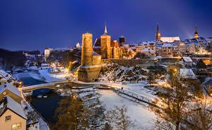 Bakgrunnsbilder Tyskland Vinter Kveld Borg Tårn Bautzen byen