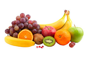 Pictures Grapes Bananas Apples Chinese gooseberry Orange fruit Fruit White background