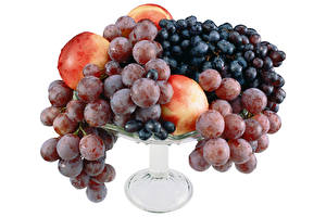 Wallpaper Grapes Peaches Vase White background Food