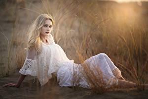 Wallpapers Grass Blonde girl Sit Bokeh Frock White young woman