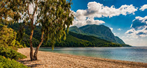 Hintergrundbilder Griechenland Küste Bucht Bäume Felsen Island Euboea Natur