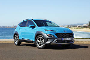 Fotos Hyundai Crossover Hellblau Metallisch Kona Elite, AU-spec, (OS), 2021 auto