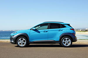 Bilder Hyundai Softroader Hellblau Metallisch Seitlich Kona Elite, AU-spec, (OS), 2021 automobil