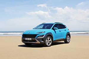 Bilder Hyundai Hellblau Metallisch Crossover Kona Elite, AU-spec, (OS), 2021 Autos