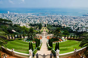 Desktop wallpapers Israel Park Sculptures Design Palms Stairs From above Caesarea, Haifa, Bahai Gardens Cities