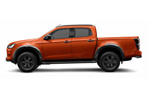 Pictures Isuzu Pickup Side Metallic White background Orange D-Max, Crew Cab, EU-spec, 2020 -- Cars