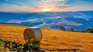 Desktop wallpapers Italy Fields Scenery Sunrises and sunsets Straw Campania Nature