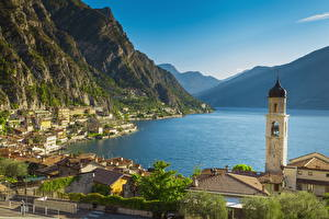 Image Italy Lake Coast Mountains Church Alps Lake Garda Cities