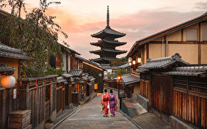 Pictures Japan Kyoto Pagodas Street Higashiyarra Cities