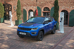 Wallpaper Jeep CUV Metallic Blue 2020-21 Compass Trailhawk 4xe automobile