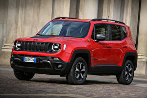 Wallpaper Jeep CUV Red Metallic 2020 Renegade Trailhawk 4xe automobile