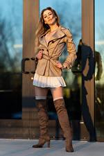 Wallpaper Korbi Kay Modelling Posing Jacket Legs Wearing boots Glance young woman