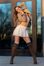 Pictures Korbi Kay Posing Model Wearing boots Skirt Jacket female