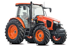 Wallpapers Tractor Red White background Kubota M5111, 2016