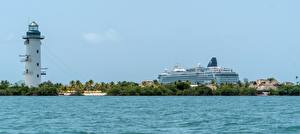 Hintergrundbilder Leuchtturm Kreuzfahrtschiff Meer Tropen Belize Natur
