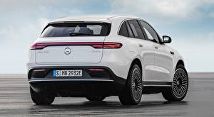 Photo Mercedes-Benz White Back view Crossover EQC 400 4MATIC, AMG Line, 2019 Cars